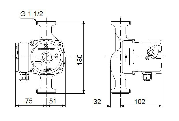 Циркуляционный насос Grundfos UPS 25/6 180 - 2